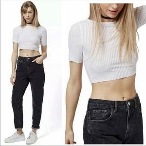 Top Shop Ribbed Raw Hem Crop Shirt Women's 2 NEW